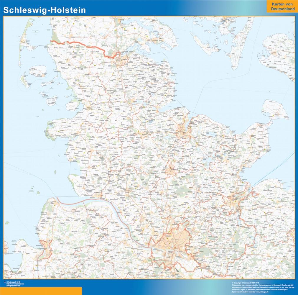Schleswig-Holstein Wandkarte