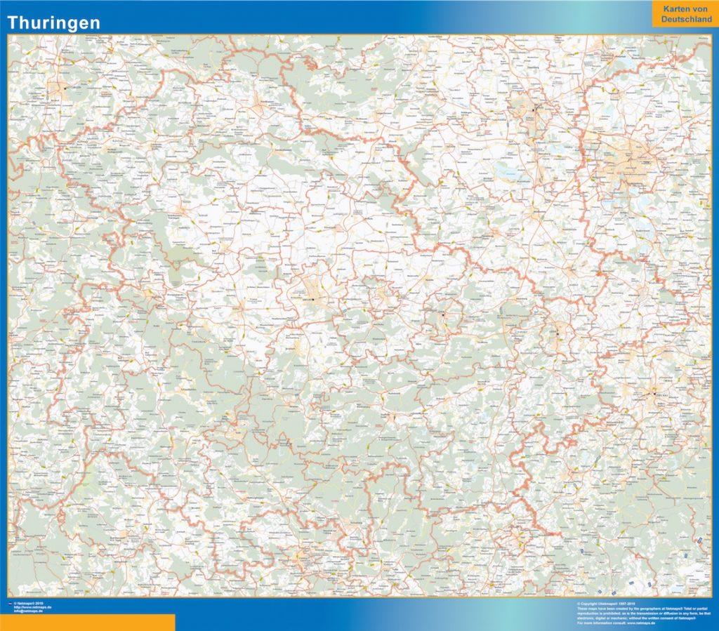 Thuringen Wandkarte