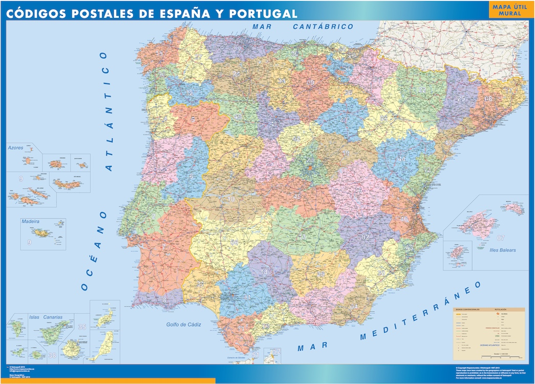 Karte Von Spanien Postal Codes Landkarten Fur Osterreich Und