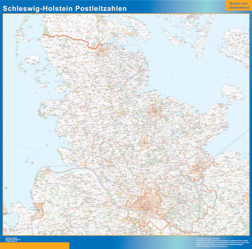 Schleswig Holstein Postleitzahlen Karte Landkarten Fur